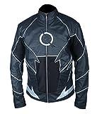 Black Zoom Flash Leather Jacket- Perfect Halloween Costume- 4XL