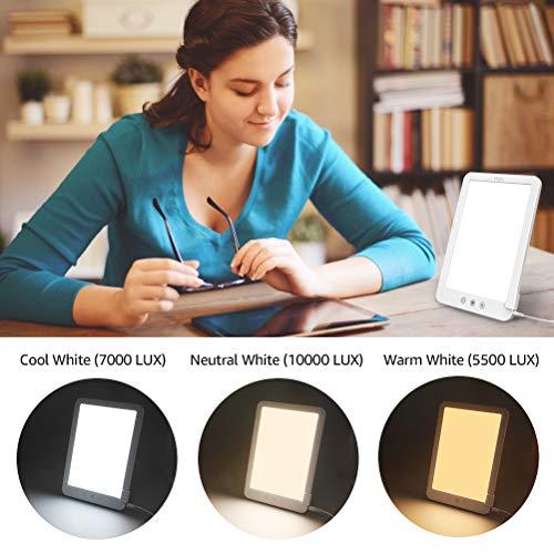 Olafus Lampe de Luminothérapie, 10000 LUX, 84 LED Dimmable, 3 Modes de Couleur Blanc Chaud/Froid/Neutre, Lumière du Jour contre Déprime Hivernale, avec Bouton Tactile et Support, Adaptateur Fourni