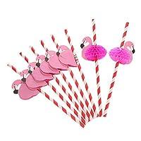 Red+white : Anself 50pcs/set Paper Straws for Birthday Wedding Celebration, with Flamingo