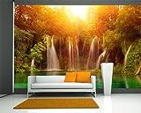 selbstklebende Fototapete - Wasserfall, Plitvice Kroatien - 150x100 cm - Tapete mit Kleber – Wandtapete – Poster – Dekoration – Wandbild – Wandposter – Wand – Fotofolie – Bild – Wandbilder - Wanddeko