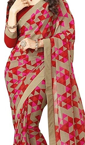 Indian Polo Women's Georgette Saree (Red printed saree_Red)