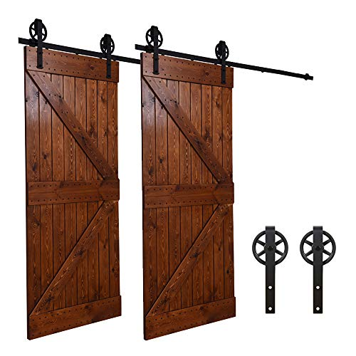 8FT/243cm Schiebe Tür-Hardware-Track-Kit Einzeltür Holztür - Sliding Barn Wood Door Hardware Roller Track Kit For Single Door Big Spoke Wheel Roller Hanger - Schiebe-tür Und Tür-hardware