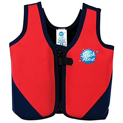 Splash About Kids Neoprene Float Jacket with Adjustable Buoyancy - Red/Navy, 3-6 Years