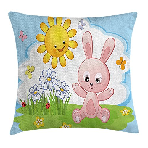 Linkla Danniol Kids Decor Throw Pillow Cushion Cover, Cute Bunny Rabbit in Flower Garden with Happy Sun Lady Bugs and Butterfly Print, Decorative Square Accent Pillow Case, 18 X 18 Inches, Multicolor -