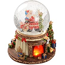WeRChristmas 19 cm Animated Snow Globe with Pre-Lit Fireplace Scene Christmas Decoration with On/Off Music Option