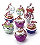 Set of 9 Large Painted Glass Cupcake Christmas Tree Decorations in Pastel and Bright Colours Approx 6cm Cup Cake by Heaven Sends