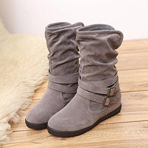 Women's Boots Shoes, SOMESUN Delle donne delle signore di bassa Wedge Buckle Biker caviglia Trim Stivaletti Ballerine Gray