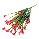 longyitrade 1Blumenstrauß 5Zweige Kunstpflanze Calla Lily Flower Hochzeit Tisch Home Decor Rot