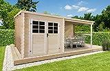 Gartenhaus Pirum P88915 - 28 mm Blockbohlenhaus, Nutzfläche: 4,60 m², Pultdach