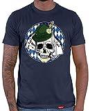 HARIZ  Herren T-Shirt Schädel Skull Wiesn Oktoberfest Party Tracht Dirndl Lederhosn Plus Geschenkkarten Navy Blau XL