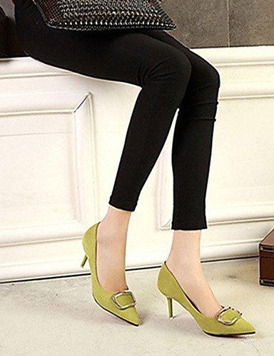 WSS 2016 Chaussures Femme-Décontracté-Noir / Jaune / Vert / Rose / Gris-Talon Aiguille-Talons-Talons-Laine synthétique yellow-us5.5 / eu36 / uk3.5 / cn35