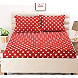 C&G 120 TC Microfiber Double 3D Printed Bedsheet (Pack of 1,Red)