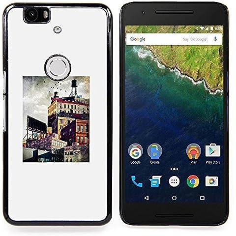 For Huawei Google Nexus 6P Case , Architettura Città Pittura Arte - Diseño Patrón Teléfono Caso Cubierta Case Bumper Duro Protección Case Cover Funda