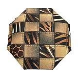 DUILLY Ombrello automatico apri/chiudi,Safari Jeans Denim Patchwork In Style Wilderness Design Art Print,Ombrello pieghevole pieghevole antivento,ad asciugatura rapida, leggero e compatto