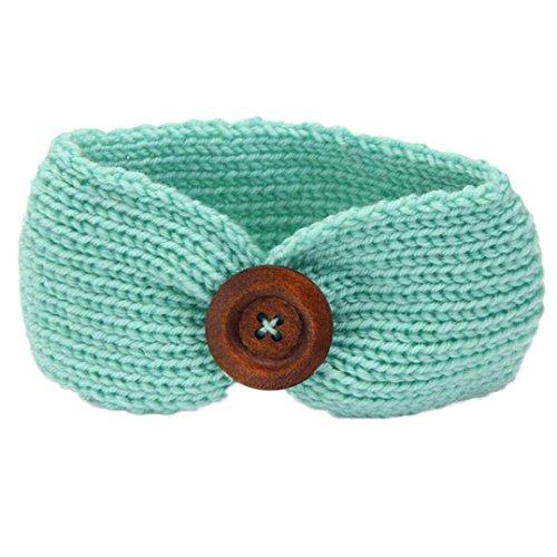 KanLin Baby Strickendes Stirnband Säuglingskind Mädchen Bowknot Stirnband (Grün)