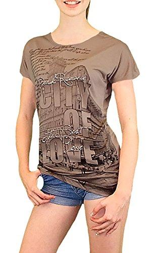 S&LU elegantes Damen-Shirt mit Glitzer-Schrift und modernem Print Gr.: S-XL (38-44) Dunkelbraun