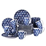 vancasso Sasaki Set 32 Pezzi, Piatti Servizio da Tavola in Porcellana Ceramica Blu Combinazione Stile Giapponese Piatti da Dessert, Tazza da caffè, Piatti Piatto, Ciotole per Cereali per 8 Persone