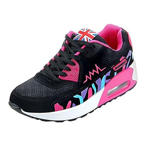 Padgene® Femme Baskets Course Gym Fitness Sport Chaussures Air (40, Noir)