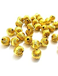 Fancy Gold Spacer Bead Balls For Jewellery Making, 6 Mm Size, Pack Of 100 Nos