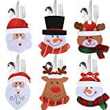 6 pz Portaposate di Natale Decorazione Natalizie per Tavola Tasche Sacchetti di Forchette Babbo Natale Pupazzo di Neve Alce