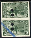 Bosnia & Herzegovina 1906 Postman & Beast of Burden 30h green imperf proof pair each with punch holes and blue crayon, as SG 194 (some winkles) ANIMALS POSTAL JandRStamps