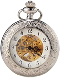 SEWOR reloj para diseño de flores plateado lupa Reloj de bolsillo automático para hombre esfera blanca