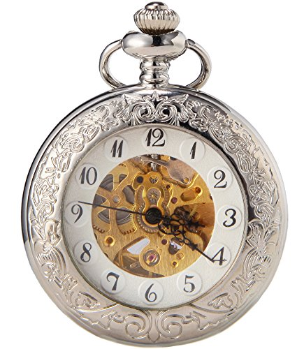 SEWOR Classic Luminous Scale Automatic Mechanical Self Wind Pocket Watch (Silver)