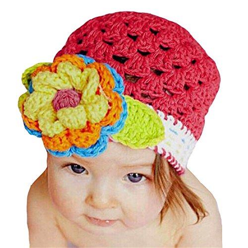 Tefamore Linda Florón Bebita Beanie caliente Sombrero Gorro de lana (43cm-52cm, Rojo)