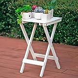 Edge to Blumenregale Nordic Simple Holz Blume Rack Wohnzimmer Balkon Lazy Falttisch Couchtisch Outdoor Kleiner Tisch (Farbe : Weiß)