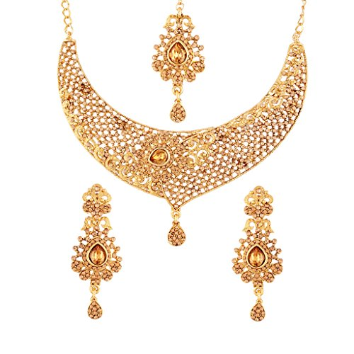 I Jewels Gold Plated Jewellery Set with Maang Tikka For Women (M4059FL)