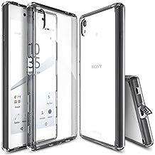 Funda Xperia Z5, Ringke FUSION Choque Absorción Funda de parachoques y Protección gota [GRATIS Protector de pantalla][SMOKE BLACK] Prima Clear Back duro para Sony Xperia Z5