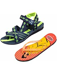 Indistar KRS Men Sandal And Step Care Flip Flop And House Slipper For Women -Set Of 2 Pairs - B072L6L3NX