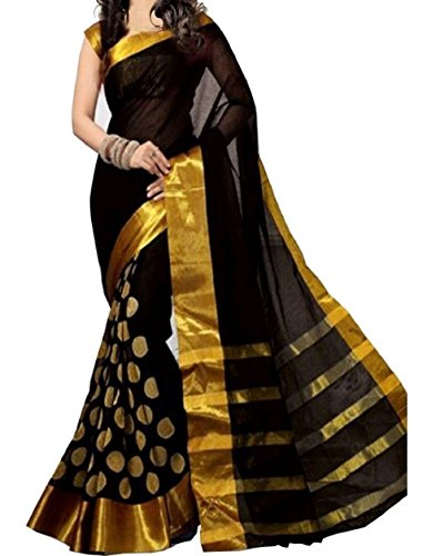 Sunshine Fashion Cotton Polyster Silk Saree For Women (Black_SUNSA392)  ( New Arrival...