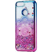 HopMore Funda Huawei P Smart Silicona 3D Glitter Liquido Brillante Transparente Purpurina Motivo Lujo TPU Gel Carcasa Huawei P Smart Resistente One Piece ...