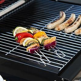 ,Antiaderenti Riutilizzabile Lavabile e Resistente al Calore 260℃ per Grilling Meat Veggies Seafood Set di 8 Barbecue Grill Mat 6pcs grill Mat + pezzi in acciaio INOX da cucina con pinze in silicone