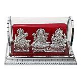 ART N HUB Acrylic Handcrafted Decorative Lord Ganesh, Maa Lakshmi and Saraswathi Idols(Silver, Standard) - Set of 3