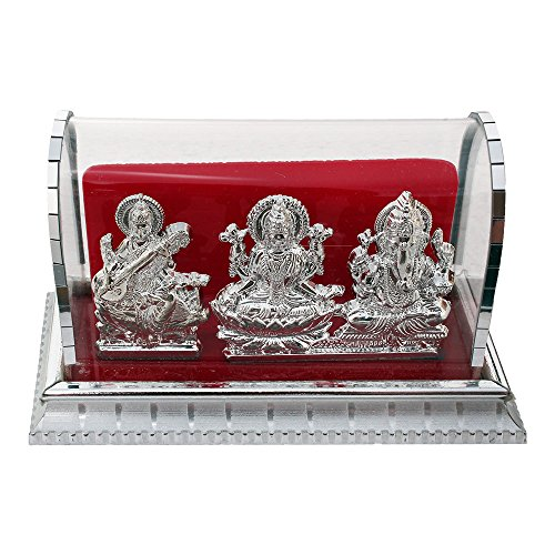 ART N HUB Acrylic Handcrafted Decorative Lord Ganesh, Maa Lakshmi and Saraswathi Idols(Silver, Standard) – Set of 3 51GCoOdjObL