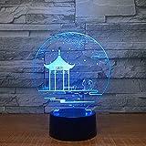 KangYD Alte Lampe des Pavillon-3D / Schreibtischlampe/geführte Nachtlichter/Farbe der Note 7 (schwarze Unterseite)/Weihnachtsgeschenk