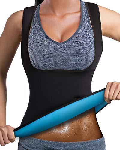DoLoveY Damen Neopren Saunaanzug Gewichtsverlust Schwitzweste Hot Corsage Body Shaper Reißverschluss, Damen, schwarz, Small -