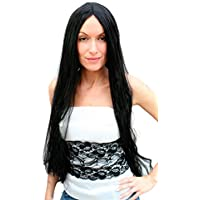 Party/Fancy WIG ME UP - TH46-P103 - Carnaval: peluca, negra, extra larga, con raya, 80 cms
