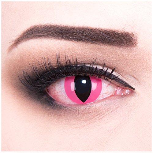 bige Cosplay Manga Crazy Fun Jahres Kontaktlinsen Pink Cat mit gratis Linsenbehälter und VERDREHSCHUTZ.Perfekt zu Halloween, Karneval und Kostüm. (Cat Eye Kontaktlinsen Für Halloween)