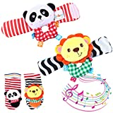 Twister.CK Baby Rattle, 4 Pcs Infant Baby Wrist Rattles and Foot Finder Set Sock Toys Developmental Soft Animal Toys Adorable Monkey and Elephant Style