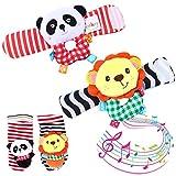 Twister.CK Baby Handgelenk Rassel und Fuß Rasseln Finder Socken Set, 4 Stück Developmental Soft Animal Infant Spielzeug - Lion und Panda
