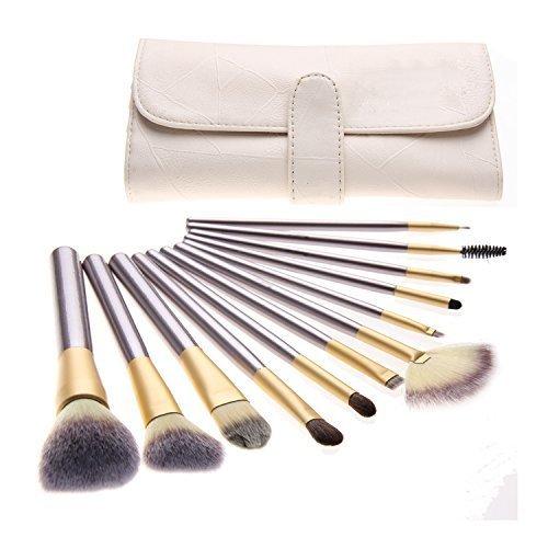 AQUA + Kit de pinceaux de maquillage Premium Synthetic Cosmetic Kabuki - Fond de tient / Estomper / Ligneur / Visage / Poudre / - 12 pièces - Elegance pourpre.