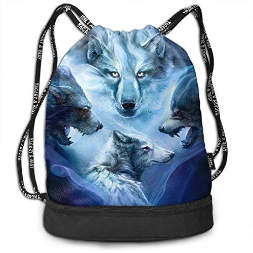 Rucksäcke,Sporttaschen,Turnbeutel,Daypacks, Funny Unisex Drawstring Beam Backpack Many Wolf Faces Print Backpack - Mikrofaser Drawstring-rucksack