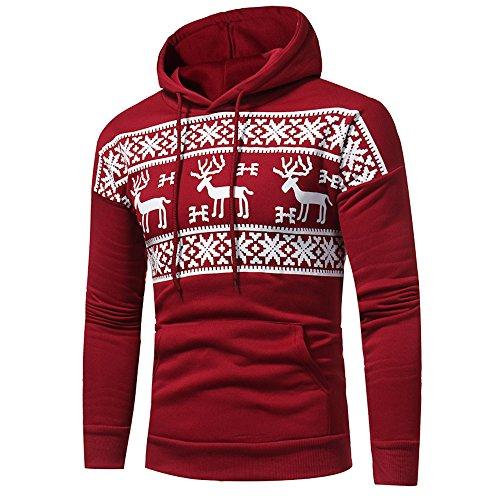 LoveLeiter Herren Print Hoodie Kapuzenpulli Tops Jacke Mantel Outwear Weihnachten Kapuzen Rollkragenpullover Weihnachtspullover Sweatshirt Hoody Rentier Mit Kapuze Fell Bluse Top(rot,L)
