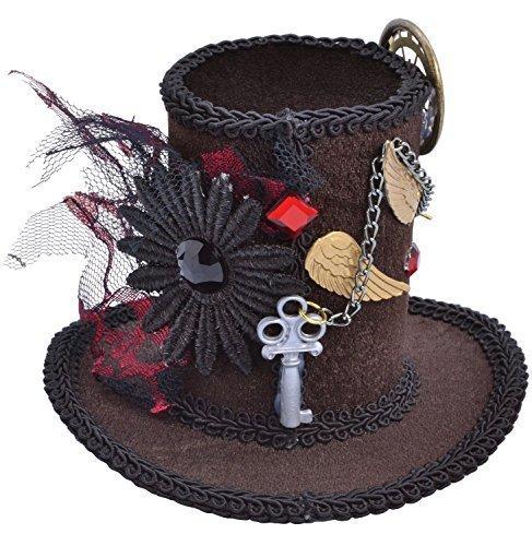 Damen Steampunk Viktorianisch Verrückter Hutmacher Halloween Mini Hut Party Kostüm Outfit Accessoire - One Size
