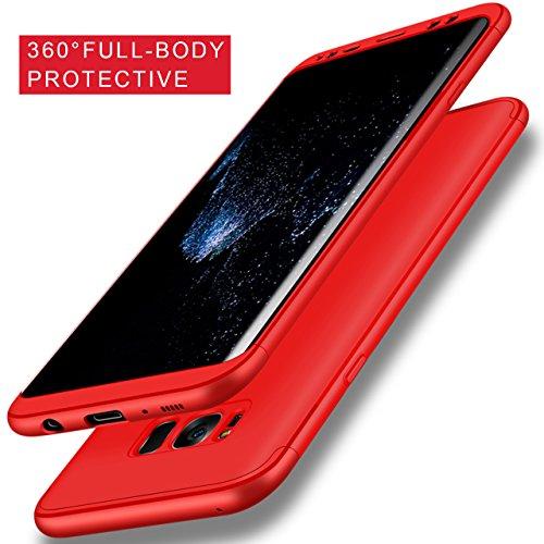 Coque Samsung Galaxy S8 Plus Ultra-Fine et Anti-Rayures Matte Bumper Hull Shell, Sunroyal Hard PC Matière avec [Protecteur d'écran] [Ultra Mince] [Ultra Léger] Anti-Rayures Anti-dérapante Très mince N Rouge