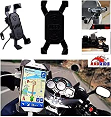 Andride Waterproof Universal Motorcycle Rotating Cell Phone Stand Mount Holder USB Charger for All Android Windows Smartphone Upto 7 inches Display- Black