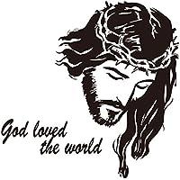 Pegatina de pared avatar creativo pintura cristiana retrato de jesús dios ama al mundo. decoración